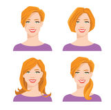 Young woman`s face with different hair style. Vector illustration of young woman`s face with different hair style on white background Stock Photos