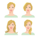 Young woman`s face with different hair style. Vector illustration of young woman`s face with different hair style on white background Royalty Free Stock Image