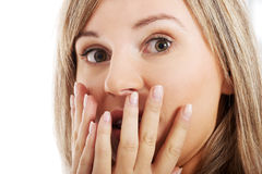 Young woman's face expressing shock/  surprise. Stock Image