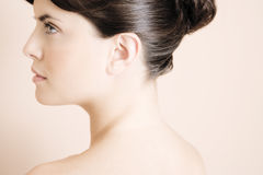 Young woman's face in profile Stock Image