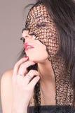 Young Woman's face with veil, Perfect makeup Royalty Free Stock Photos