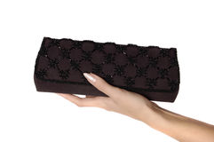 Young woman's hand holding elegant purse isolated Stock Photos
