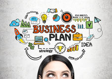 Free Young Woman S Head And A Business Plan Stock Images - 98652884