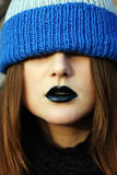 Young woman's lips with black lipstick Royalty Free Stock Photos