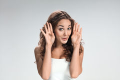 The young woman's portrait with funny emotions Stock Photos