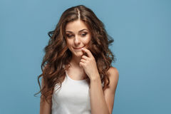 The young woman`s portrait with happy emotions Royalty Free Stock Image