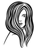 Young woman's portrait line-art illustration Stock Image