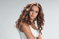 The young woman's portrait with sad emotions Stock Photos