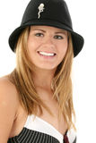 Young Woman's Smile. Beautiful young woman in hat smiling Stock Images