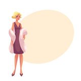 Young woman in 1920s style cocktail dress at vintage party. Young woman in 1920s cocktail dress at vintage party, cartoon vector illustration on background with Royalty Free Stock Images