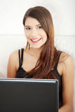 Young woman's working on laptop Stock Image