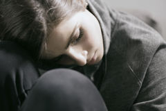 Young woman sad and depressed crying Royalty Free Stock Images