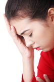 Young woman with sad expression on face Royalty Free Stock Photos