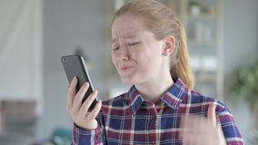 Young woman sad while shopping online stock video