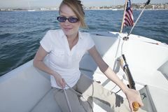 Young Woman Sailing Royalty Free Stock Images