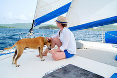Young woman sailing on a luxury yacht Royalty Free Stock Image