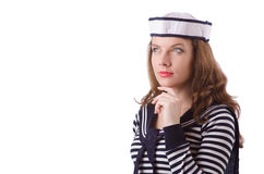 The young woman sailor isolated on white Royalty Free Stock Images