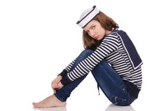 The young woman sailor isolated on white. Young woman sailor isolated on white Royalty Free Stock Images
