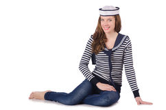 The young woman sailor isolated on white Royalty Free Stock Photo