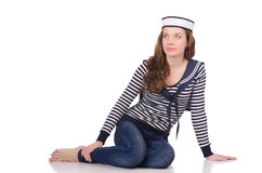 The young woman sailor isolated on white Royalty Free Stock Photography