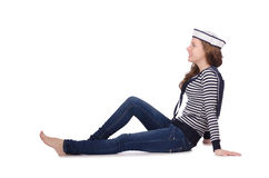 The young woman sailor isolated on white. Young woman sailor isolated on white Royalty Free Stock Image
