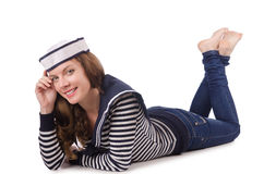 The young woman sailor isolated on white. Young woman sailor isolated on white Royalty Free Stock Photo