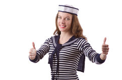 The young woman sailor. Young woman sailor isolated on white Stock Photo