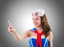 Young woman sailor in marine concept Stock Photos