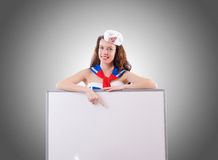 Young woman sailor in marine concept Stock Images