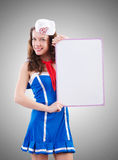 Young woman sailor in marine concept Royalty Free Stock Image
