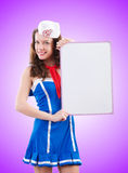 Young woman sailor in marine concept. The young woman sailor in marine concept Royalty Free Stock Photos