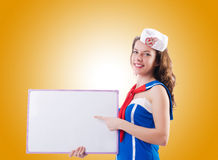 Young woman sailor in marine concept. The young woman sailor in marine concept Royalty Free Stock Images