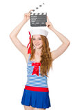 Young woman sailor. With movie board Stock Image