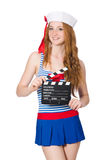 Young woman sailor. With movie board Royalty Free Stock Images