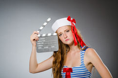Young woman sailor Royalty Free Stock Image