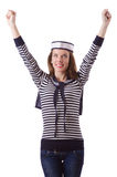 The young woman sailor  on white. Young woman sailor  on white Royalty Free Stock Photography