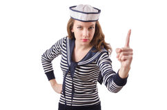 The young woman sailor  on white. Young woman sailor  on white Stock Images