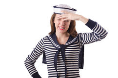 The young woman sailor  on white. Young woman sailor  on white Royalty Free Stock Photos