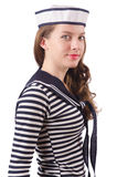 The young woman sailor  on white Stock Photography