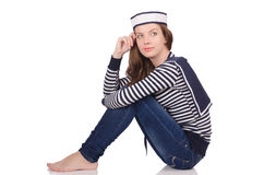 The young woman sailor  on white Stock Images