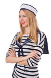 The young woman sailor  on white Stock Photos