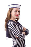 The young woman sailor  on white. Young woman sailor  on white Royalty Free Stock Image