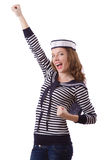 The young woman sailor  on white Stock Image