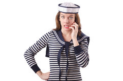 The young woman sailor  on white. Young woman sailor  on white Stock Photos
