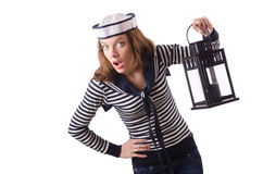 The young woman sailor  on white Royalty Free Stock Photo