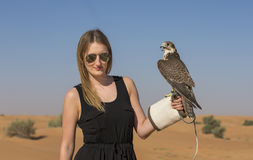 Young woman with saker falcon Royalty Free Stock Photography