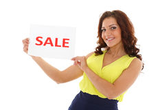 Young  woman with sale sign. Royalty Free Stock Photos