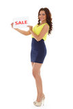 Young  woman with sale sign. Royalty Free Stock Photography