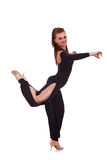 Young woman salsa dancer. In a balance pose onwhite background royalty free stock images