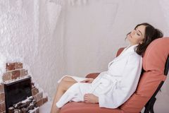Young woman in the salt room Royalty Free Stock Photo